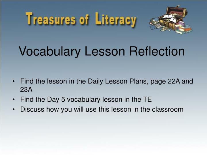 Vocabulary Lesson Reflection