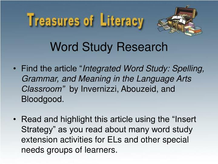 Word Study Research