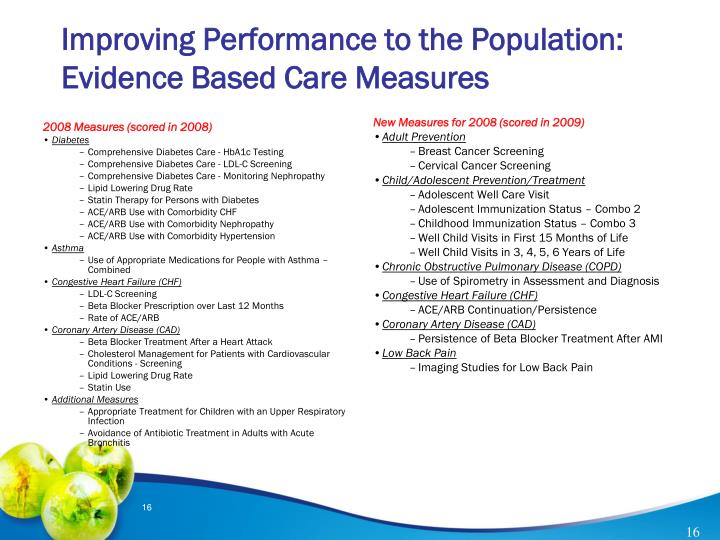 Improving Performance to the Population: Evidence Based Care Measures
