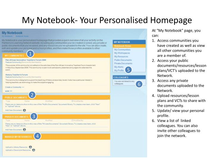 My Notebook- Your Personalised Homepage
