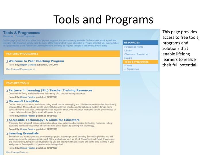 Tools and Programs