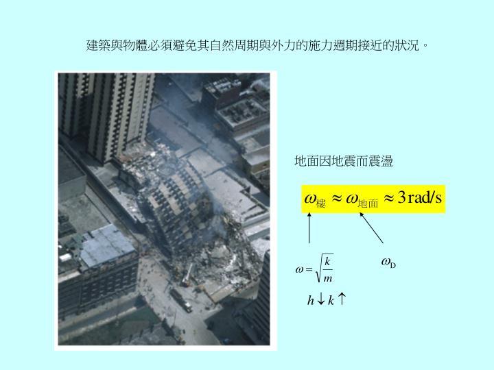 建築與物體必須避免其自然周期與外力的施力週期接近的狀況。