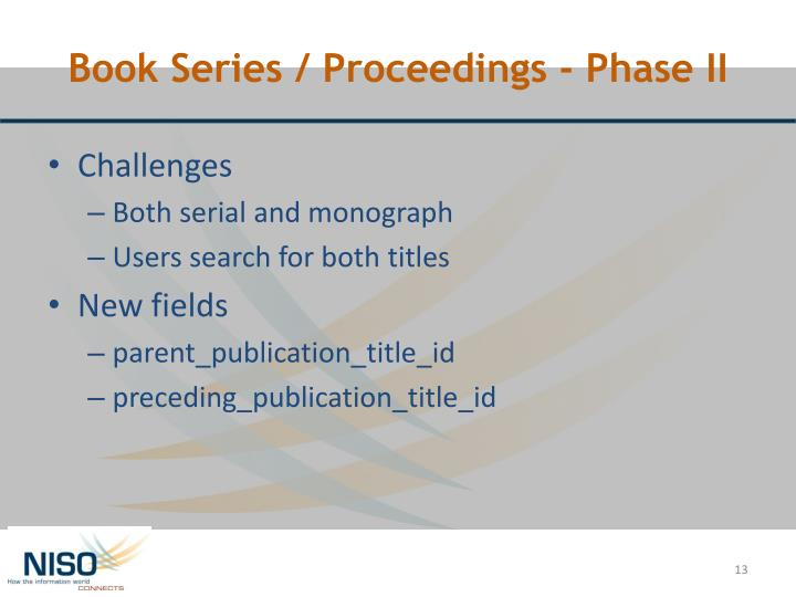 Book Series / Proceedings - Phase II