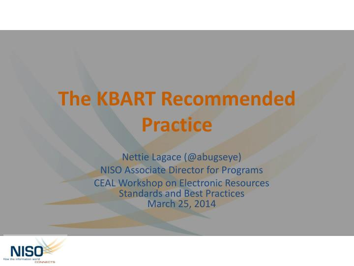 The kbart recommended practice