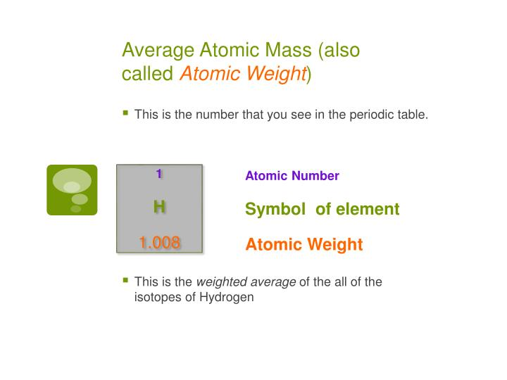 Average Atomic Mass (also called
