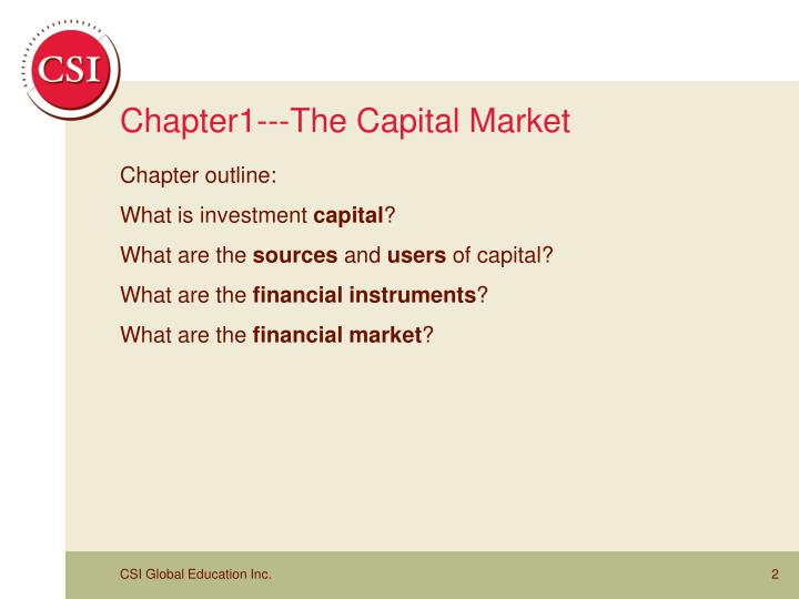 Chapter1 the capital market