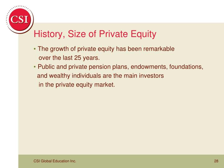 History, Size of Private Equity