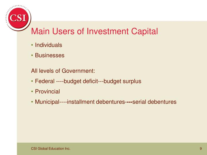 Main Users of Investment Capital