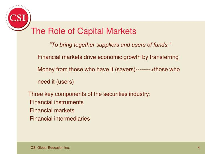 The Role of Capital Markets