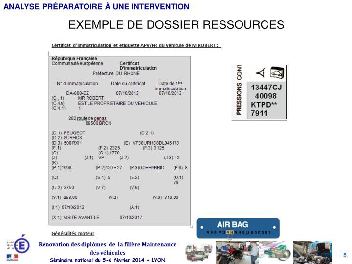 EXEMPLE DE DOSSIER RESSOURCES