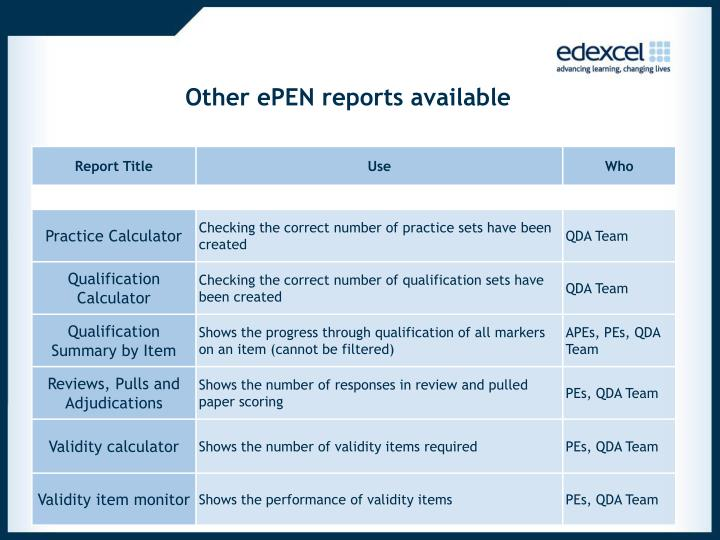 Other ePEN reports available