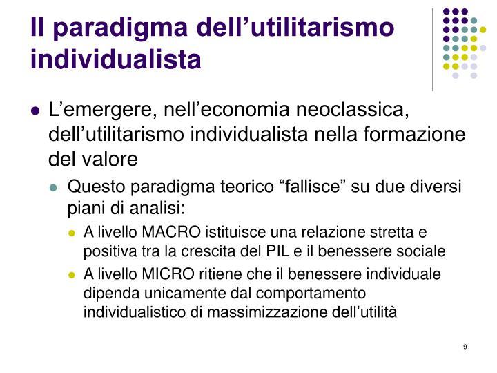 Il paradigma dell'utilitarismo individualista