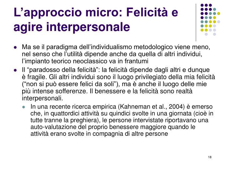 L'approccio micro: Felicità e agire interpersonale