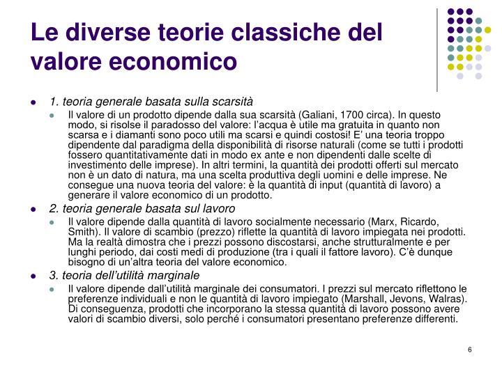 Le diverse teorie classiche del valore economico