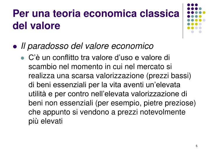 Per una teoria economica classica del valore