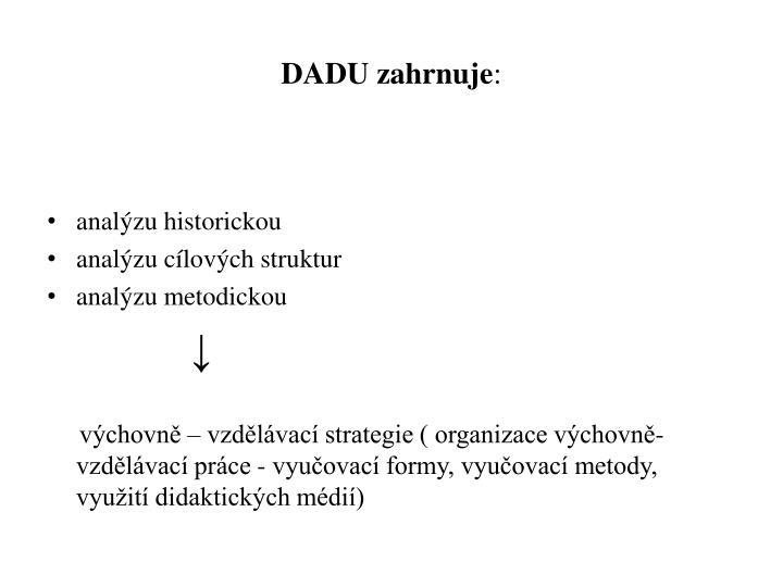 DADU zahrnuje