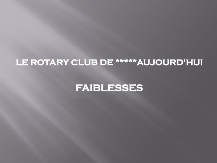 LE ROTARY CLUB DE *****AUJOURD'HUI