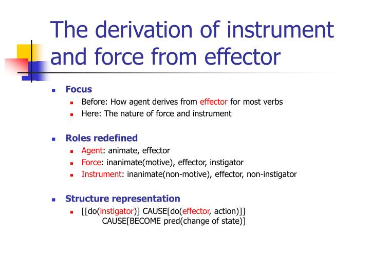 The derivation of instrument and force from effector
