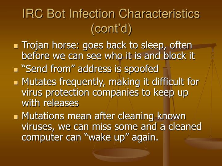 IRC Bot Infection Characteristics (cont'd)