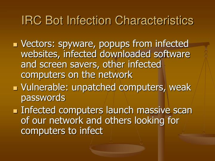 IRC Bot Infection Characteristics
