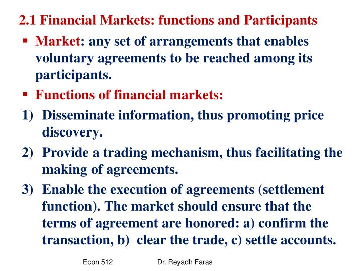 2 1 financial markets functions and participants