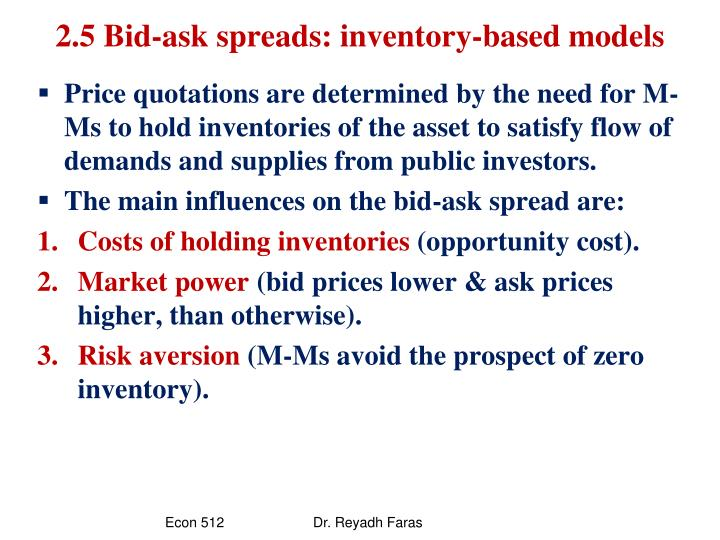 2.5 Bid-ask spreads: inventory-based models
