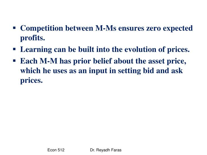 Competition between M-Ms ensures zero expected profits.