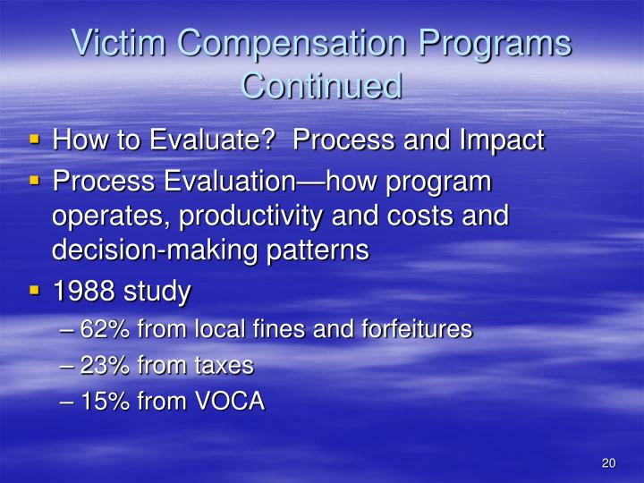 crime and victim compensation programs West virginia legislature's crime victims compensation fund in 1981, the west virginia legislature enacted legislation (wv code §14-2a) creating the crime victims program within the west virginia court of claims declaring that a primary purpose of government is to provide for the safety of citizens and the inviolability of.