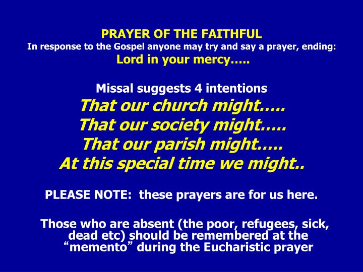 PRAYER OF THE FAITHFUL