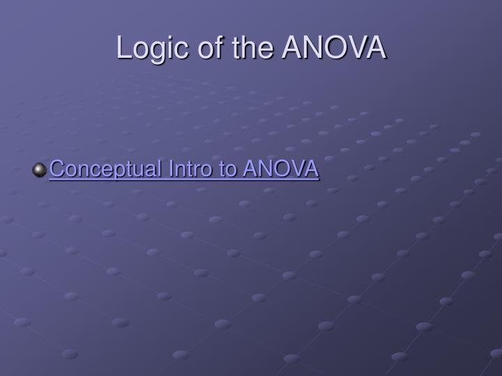 Logic of the ANOVA