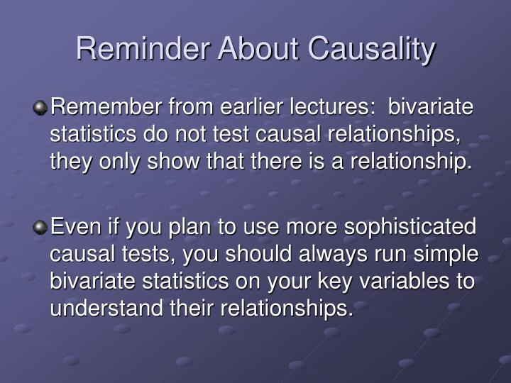 Reminder About Causality