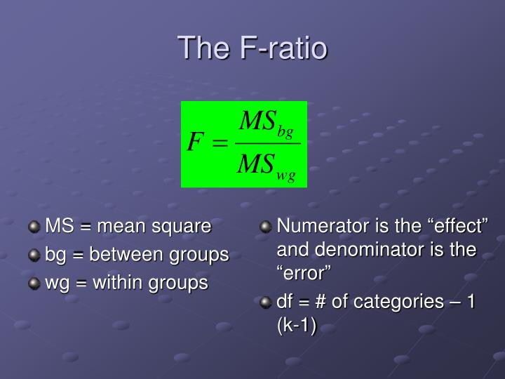 The F-ratio