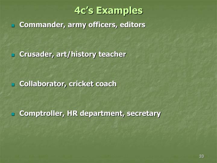4c's Examples