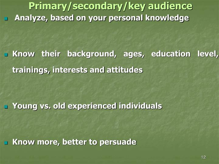 Primary/secondary/key audience