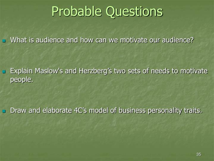 Probable Questions