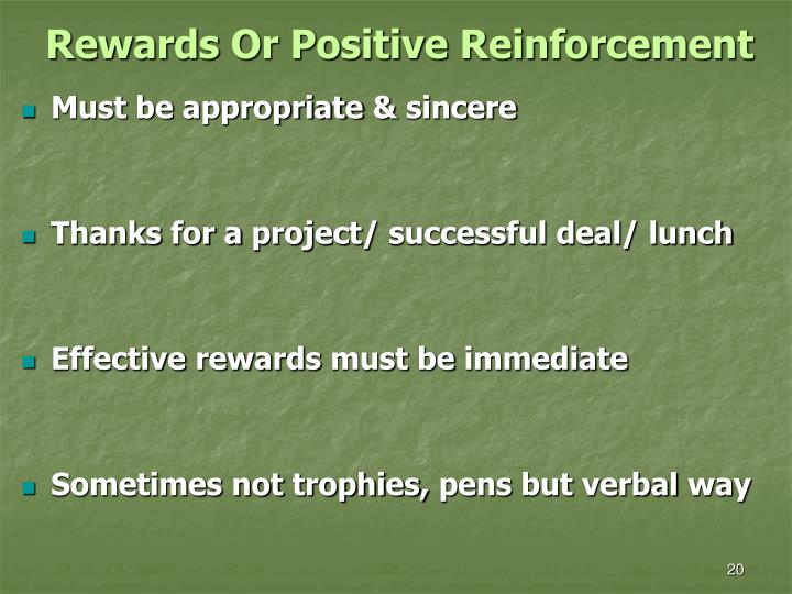 Rewards Or Positive Reinforcement