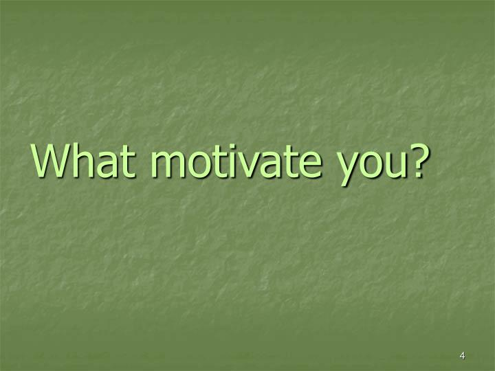 What motivate you?