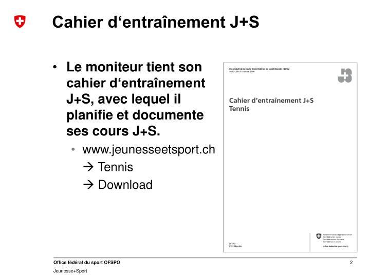 Cahier d'entraînement J+S