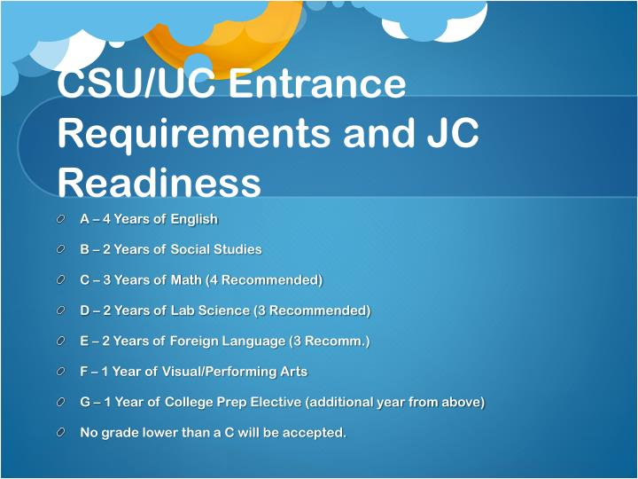 CSU/UC Entrance Requirements and JC Readiness