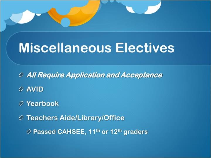 Miscellaneous Electives