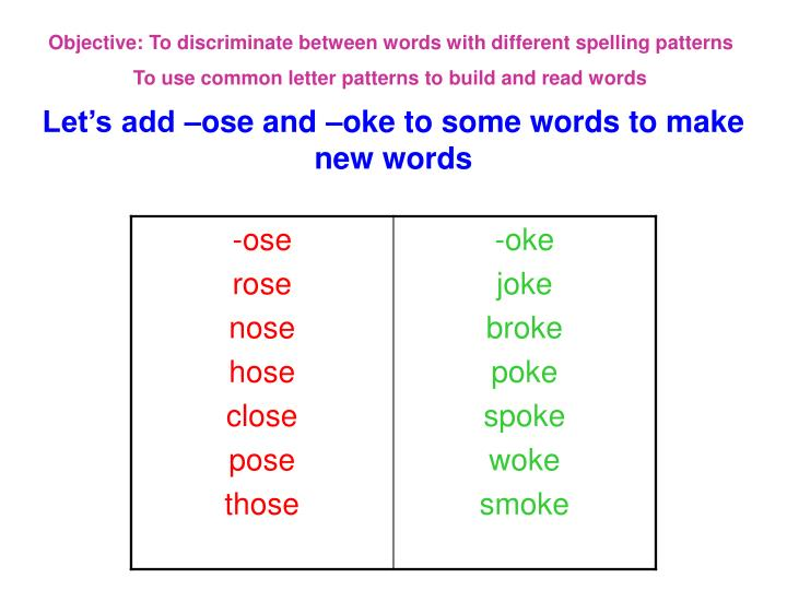 Objective: To discriminate between words with different spelling patterns