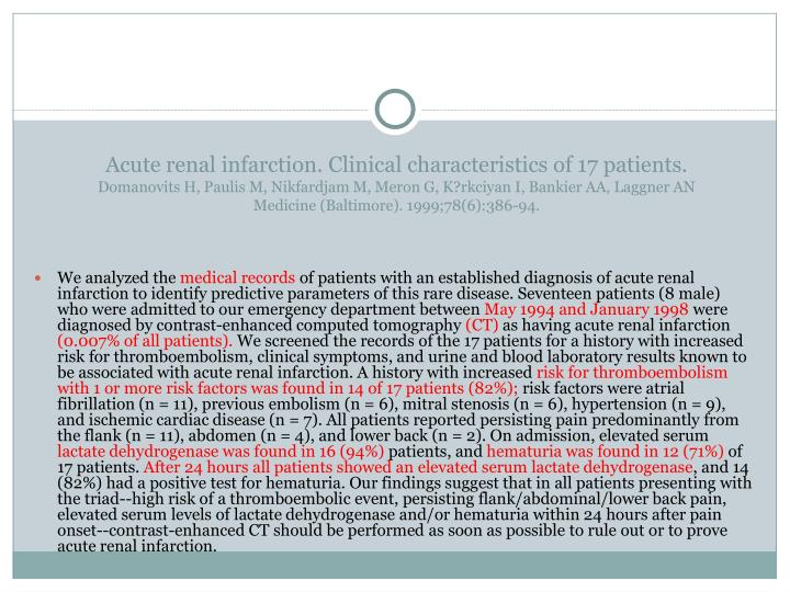 Acute renal infarction. Clinical characteristics of 17 patients.