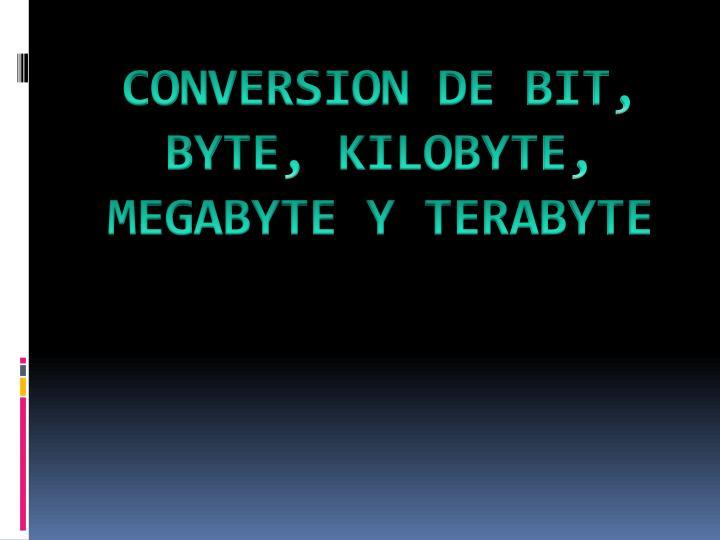 CONVERSION DE BIT, BYTE, KILOBYTE, MEGABYTE Y TERABYTE