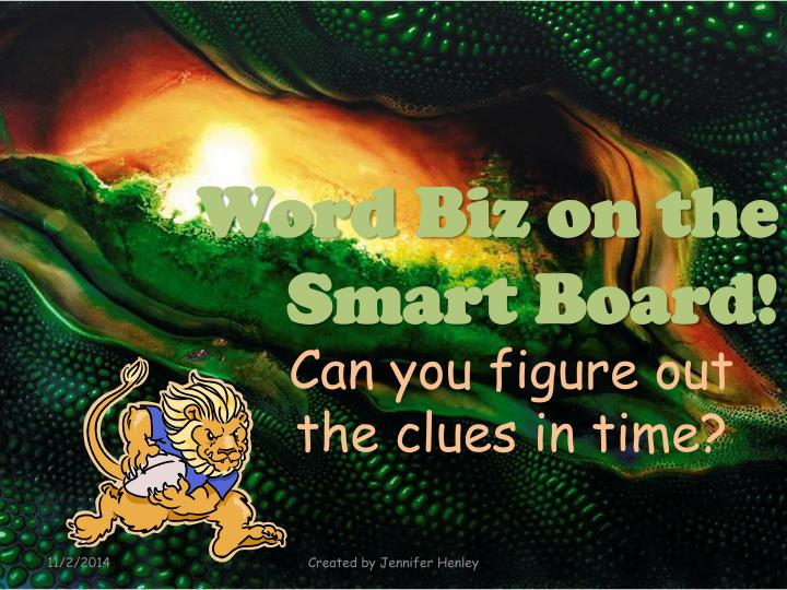 Word Biz on the Smart Board!