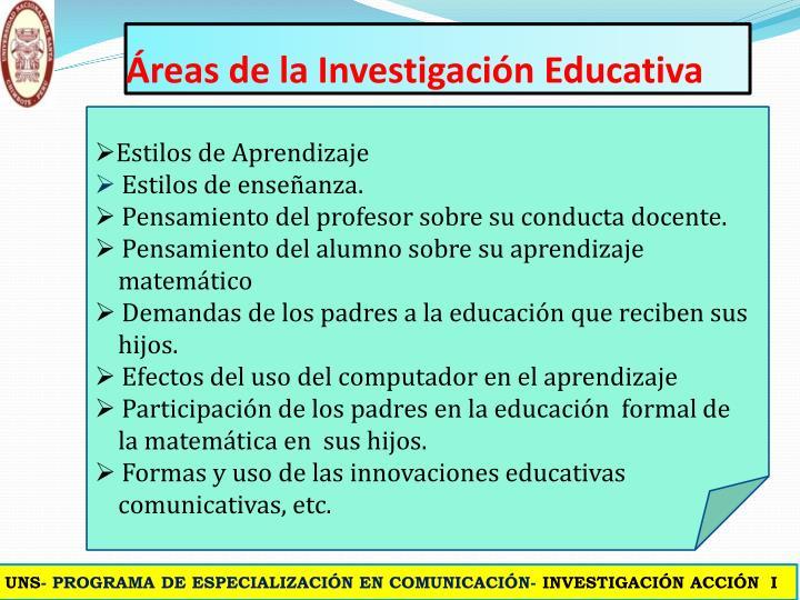 Áreas de la Investigación Educativa