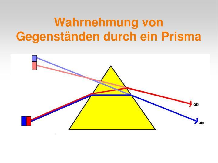 Wahrnehmung von Gegenständen durch ein Prisma