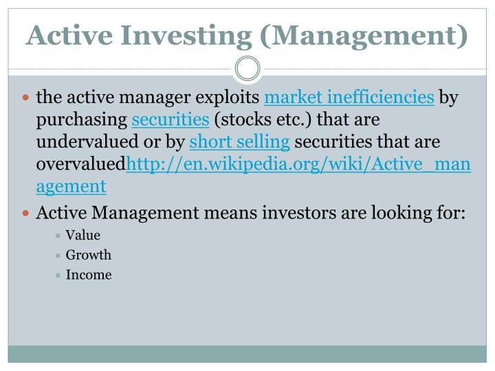 Active investing management
