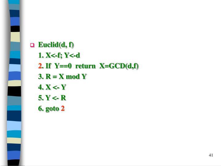 Euclid(d, f)