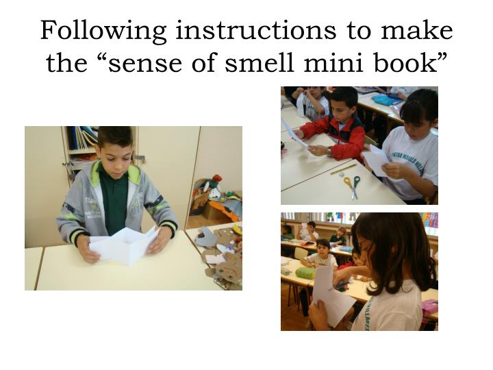 "Following instructions to make the ""sense of smell mini book"""