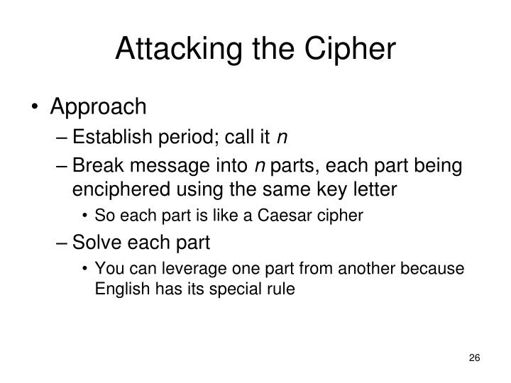 Attacking the Cipher